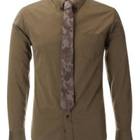 FLATSEVEN Mens Slim Fit Casual Cotton Shirts with Military Camo Pattern Tie