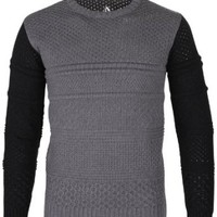 FLATSEVEN Mens Designer Slim Wool Blend Cable Knit Sweater