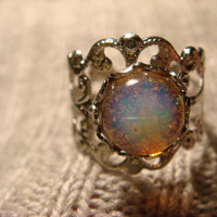 Fire Opal  Silver Filigree Ring Adjustable by CreepyCreationz