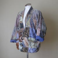 vintage Hippie Jacket / Patchwork Jacket / Gypsy Jacket / Boho Clothing / Slouchy Coat / Mori Girl / India / Ethnic Clothing / Festival
