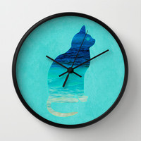 SEA CAT Wall Clock by catspaws
