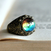 Antiqued Brass Glass Dome Round Galaxy Ring, Women Accessories, Big Resin Nebula Ring