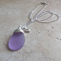 Lavender Sea Glass Necklace: Radiant Orchid Purple Teardrop Pendant Fine Silver Wire Wrapped Valentine Heart Beach Jewelry