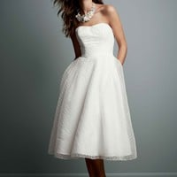 Tea Length Dotted Organza Wedding Gown - David's Bridal