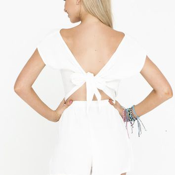 White Tie Back Short Sleeve Playsuit