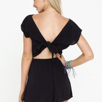 Black Tie Back Short Sleeve Playsuit