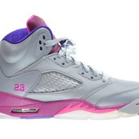 Girls Air Jordan 5 Retro (GS) Big Kids Basketball Shoes Cement Grey/Pink-Raspberry Red 440892-009