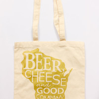Beer, Cheese and Good Company Gold Ink Canvas Tote Bag