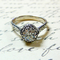 Vintage Engagement Sterling Silver Swarovski CZ Floral Band Ring with Tiara Crown like bezel - Wedding