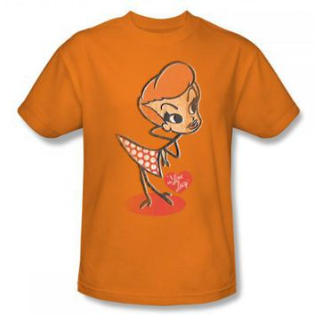 I Love Lucy - Vintage Doll Adult T-Shirt In Orange