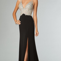 Long Sleeveless Low V-Neck Open Back Gown by JVN for Jovani