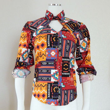 vintage 90s colorful tribal print cutout from sadiebess