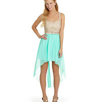 Jodi Kristopher Lace Hi-Low Dress | Dillard's Mobile