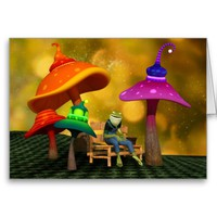 Whimsical Frog and Mushrooms Customizable Greeting Card
