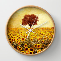 lone tree & sunflowers field Wall Clock by Viviana González