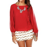 Red Studded Cuff Top