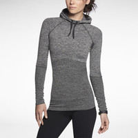 Nike Pro Hyperwarm Fitted Seamless Pullover Women's Hoodie - Black Heather
