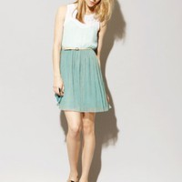 Mint teal pleated dress [Sur1044] - &amp;#36;52 : Pixie Market, Fashion-Super-Market