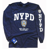 NYPD T-SHIRT, Officially Licensed Crewneck New York Police Department Long-Sleeve Athletic Tee, Navy