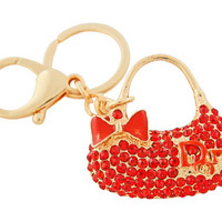 Bead Charmed Jewelry Ltd - PURSE Keychain: 14k Gold plated; Red Rhinestone