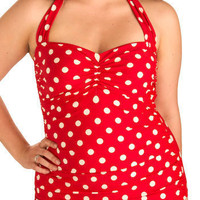 Esther Williams Vintage Inspired Halter Beach Blanket Bingo One-Piece Swimsuit in Red - Plus-Size