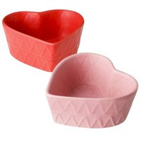 Valentine's Ceramic Heart Candy Dish Set of 2 - Pink/Red