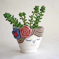 Sweet smiling vase - brown hair lady with flowers - wheel torn, handmade ceramics, one of a kind vase