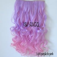 X&Y ANGEL New Two Tone One Piece Long Curl/curly/wavy Synthetic Thick Hair Extensions Clip-on Hairpieces 26 Colors (mixed color light purple and pink)