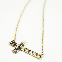 Gold Sideways Cross Tribal Necklace Set