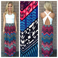 Gypsy Zig Zag Cross Back Maxi Dress