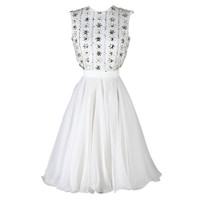 Vintage 1960's White Chiffon Beaded Dress