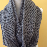 Grey Infinity Scarf Super Soft Cowl Scarf Double Loop Neck wrap Gorgeous Hood Grey Knit Tube Chunky winter Scarf Grey Knit Scarf