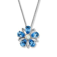Topaz Flower Necklace With Lab-Created Opal Sterling Silver