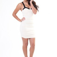 Cream Sleeveless Bodycon Dress with Black Trim Bustier