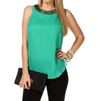 Mint Embellished Drape Back Top