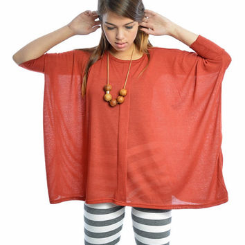 Orange Square 'Oversize' Shirt perfect for wearing with legging and pencil skirts!