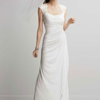 Lace Cap Sleeve Long Matte Jersey Dress - David's Bridal