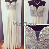 A-line Sweetheart Floor-length Chifon Beading Long Cocktail/Evening/Party/Homecoming/cocktail dress/Bridesmaid/Formal Dresses 2014