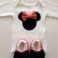 Minnie Mouse Onesuit and Bootie Set, Baby girl, Minnie Mouse, Onesuit, Bootie, Walker, Shoes