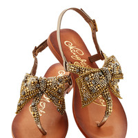 Twinkling Trimmings Sandal in Gold | Mod Retro Vintage Sandals | ModCloth.com