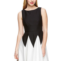 GABBY SKYE Black/Ivory Sleeveless Pique Knit Fit-and-Flare Dress