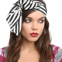 Black And White Striped Stretchy Headband