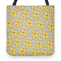 Gray and Yellow Flower Tote