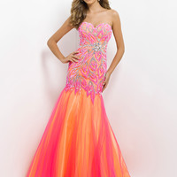 Fit And Flare Tulle Skirt Sweetheart Neckline Prom Dress By Blush 9722