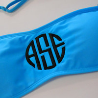 Padded Monogram Bandeau Swim Suit Top Font Shown NATURAL CIRCLE