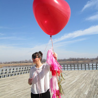 36 inch Heart shaped Balloon and Valentine Tassel Garland (Red &Pink)