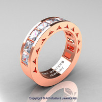 Mens Modern 14K Rose Gold Princess White Sapphire Channel Cluster Wedding Ring R274-14KRGWS