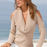 Boston Proper Lurex cowl cold-shoulder sweater