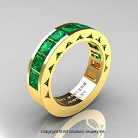 Mens Modern 14K Yellow Gold Princess Emerald Channel Cluster Wedding Ring R274-14KYGEM