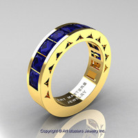 Mens Modern 14K Yellow Gold Princess Blue Sapphire Channel Cluster Wedding Ring R274-14KYGBS